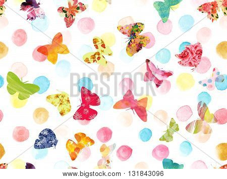 A seamless background pattern with pastel watercolor dots and bright textured butterflies