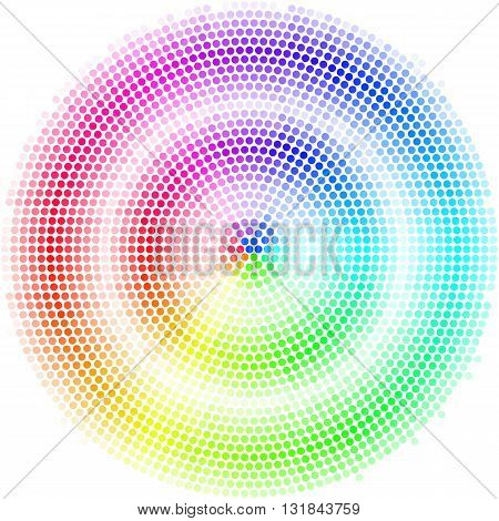 Equalizer multicolor dots digital in form circle with white strip on white background