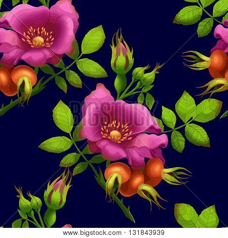 seamless pattern of bright rose hips on a dark background