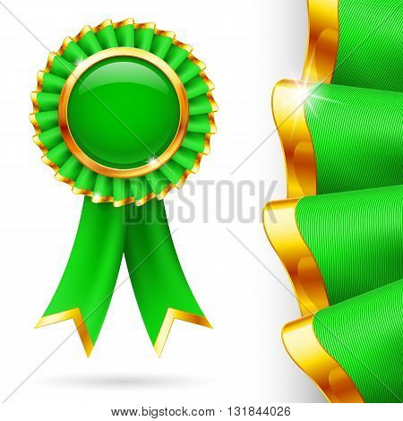 Shiny green award ribbon with golden edging. Fabric with highly detailed texture