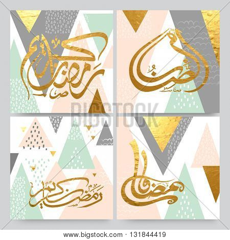 Set of four Golden Arabic Islamic Calligraphy Text Ramadan Kareem on abstract background, Hand-drawn greeting card or invitation card collection, Creative background in pastel colours.