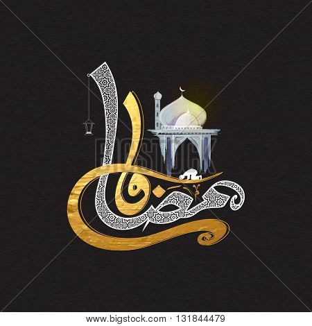 Golden textured Arabic Islamic Calligraphy of text Ramadan Kareem with Creative Mosque, Elegant greeting card design for Holy Month of Muslim Community Festival celebration.