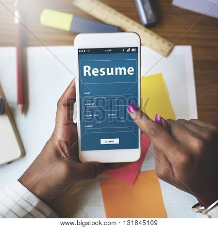 Resume CV Recruitment Employment Concept on mobile phone