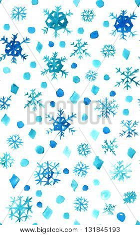 An abstract seamless watercolor texture with blue snowflakes and snowdrops on white background