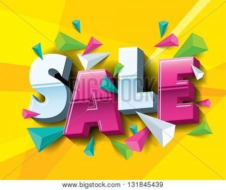 Sale layout design with abstract triangle elements. Vector illustration
