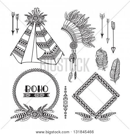 Creative ethnic set with ornamental Wigwam, War Bonnet or Headdress, Arrows, Floral Frames, Feathers and Divider, Hand drawn boho style illustration, Stylish hippie design elements.