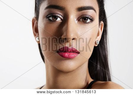 Closeup Woman's Portrait With A Bright Makup