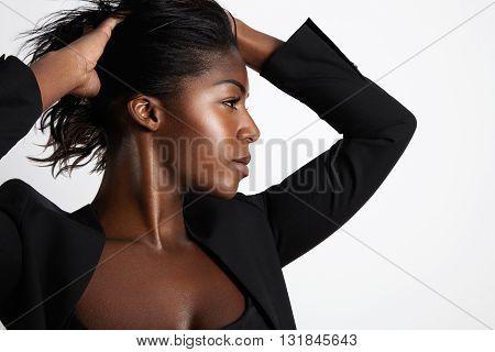 Black Woman's Profile Portrait On A Grey