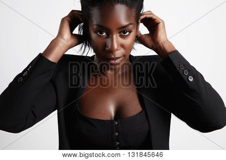 Black Woman Put The Hair Over Ears