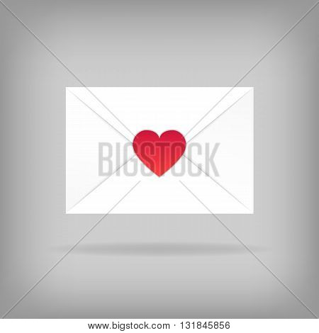 Happy Valentine's Day Envelope. Vector Illustration. Close White Envelope with Heart Shape Seal. Can be used for Mother's and Women's Day Greetings