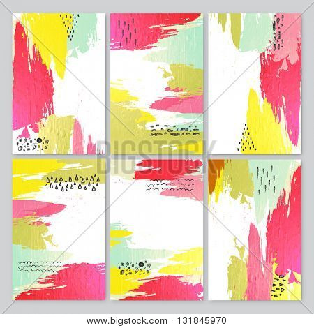 Set of six creative Abstract Backgrounds with colorful paint stroke for Banner, Poster, Card, Invitation, Brochure, Flyer etc.