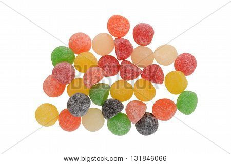 top view sugar coated gum drops on white