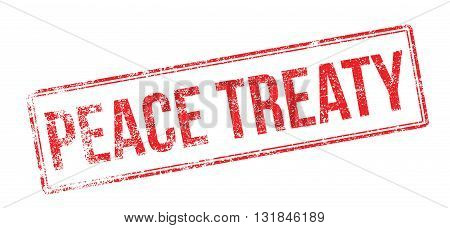 Peace Treaty Red Rubber Stamp On White