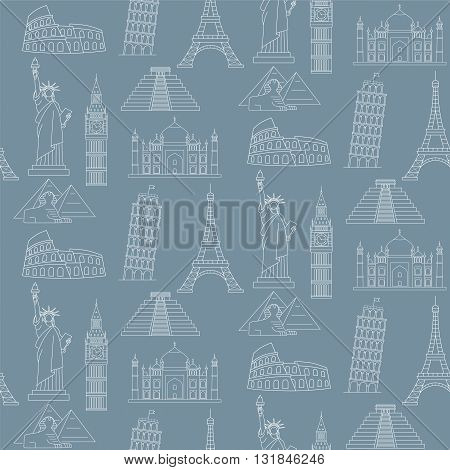 World  Famous Landmarks Vector Seamless Background. Travel background.
