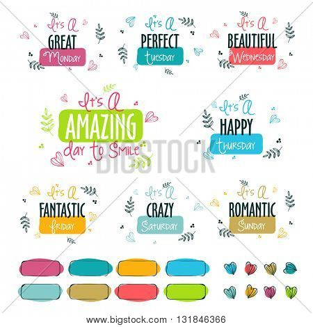 Colorful typographic collection of handwritten week days with different motivational quotes, Doodle style illustration.