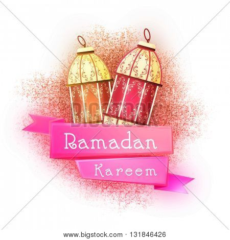 Traditional Lamps with Pink Ribbon on glitter background for Islamic Holy Month of Prayer and Fasting, Ramadan Kareem celebration.