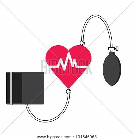 Conceptual vector illustration of a medical tonometer heart. A device for measuring blood pressure and pulse. Logo Heart Center.
