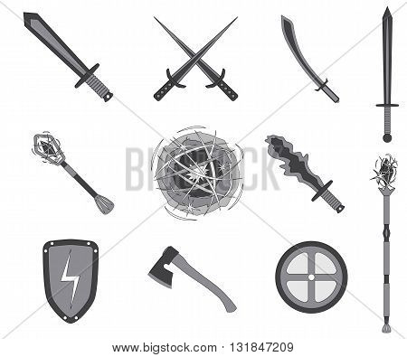 Game RPG weapons icons set. Vector illustration isolated on white