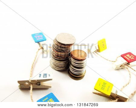 Collected coins money in everyday saving money concept