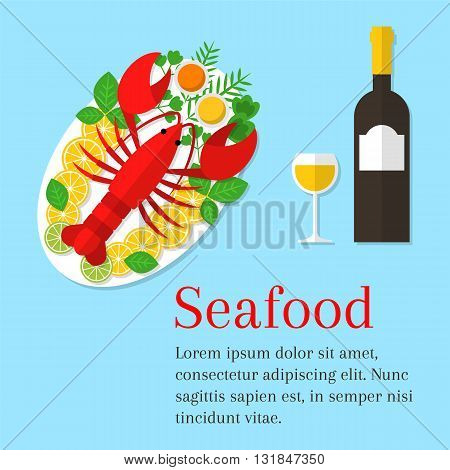 Seafood platter vector flat illustration. Lobster on a plate with lemon and wine bottle. Fresh seafood background. Seafood restaurant menu. Seafood dinner.