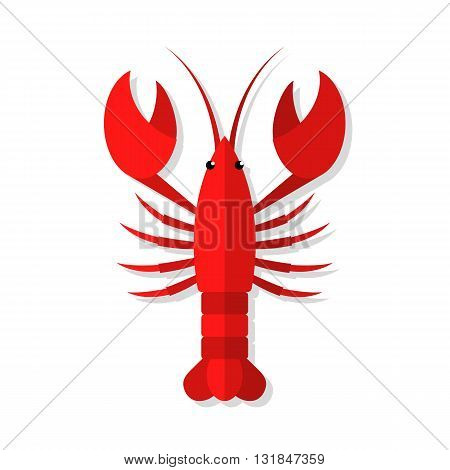 Lobster vector flat illustration isolated on white background. Fresh seafood flat icon.