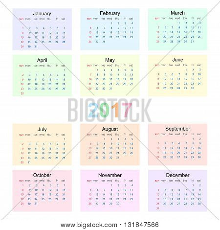 Calendar 2017 starting from sunday. Colorful vector illustration