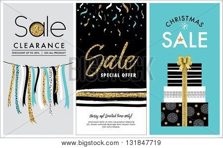 sale banners design with gold glitter elements