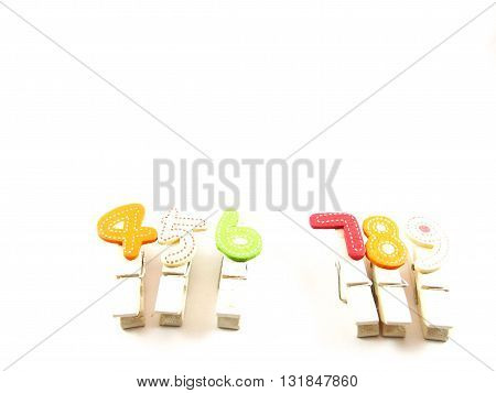Wooden paper clips with four five six no., seven eight  nine no., popular telephone number for thai people believed in lucky number concept