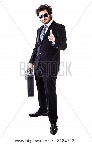 Cool Businessman With Black Suitcase