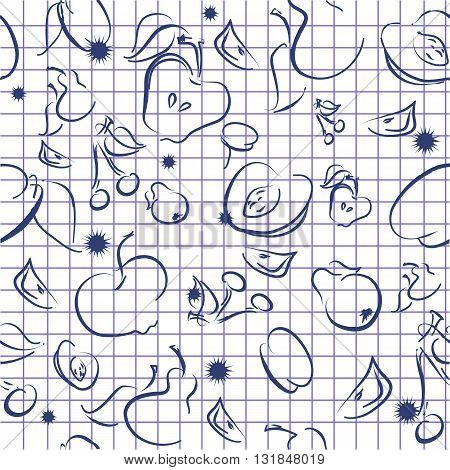 Vector illustration of the seamless fruit background on a notebook paper.