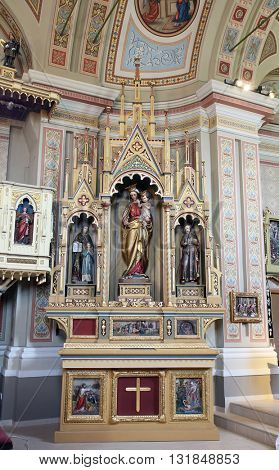 STITAR, CROATIA - AUGUST 27: Altar of Our Lady in the church of Saint Matthew in Stitar, Croatia on August 27, 2015