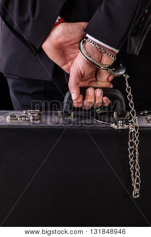 Wrist Chained Leather Suitcase