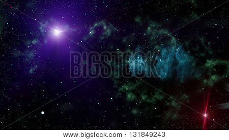 Abstract Dark Deep Space Background With Stars.