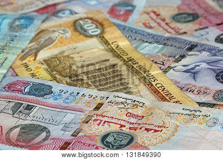 close up of banknotes of United Arab Emirates: dirhams