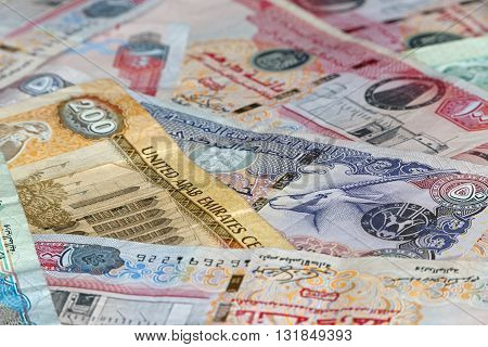 close up of currency of United Arab Emirates: dirhams