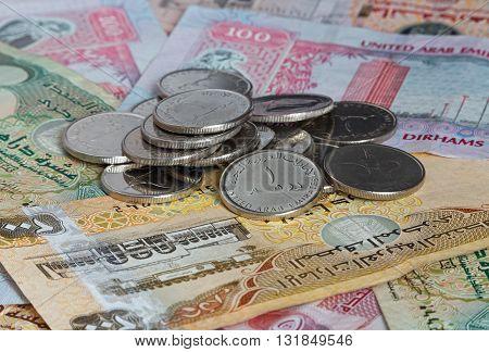 close up of money of United Arab Emirates: dirhams