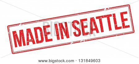 Made In Seattle Red Rubber Stamp On White