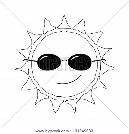 Happy sun fun icon. Cute smiling sign with sunglasses. Cartoon design. Black element isolated on white background. Symbol of weather heat sunny and sunlight smile relaxation. Vector illustration