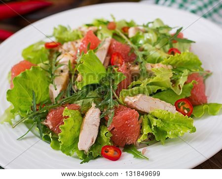 Fresh Chicken Salad, Grapefruit, Lettuce And Honey Mustard Dressing. Dietary Menu. Proper Nutrition.