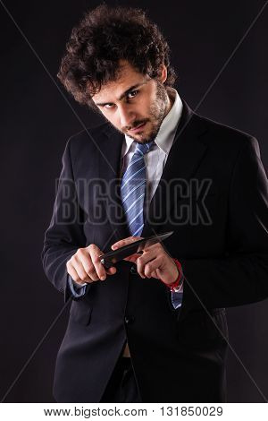 Psycho Businessman Holding Kitchen Knife