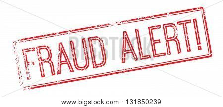 Fraud Alert Red Rubber Stamp On White
