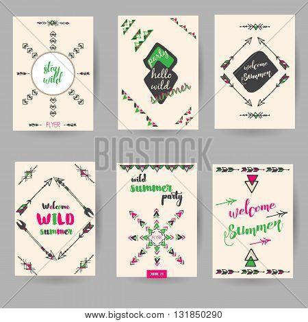 set of summer decorative hand drawn boho cards