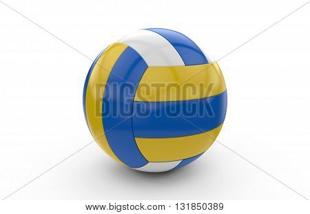 Volley ball with blue yellow and white texture: 3D rendering