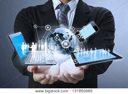 Technology in the hands of a businessman