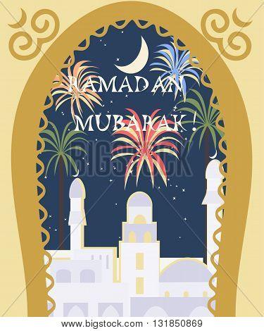 ramadan mubarak greeting card - vector colorful illustration