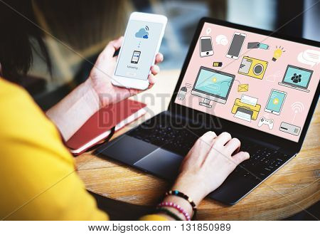Telecommunication Connection Devices Technology Share Concept