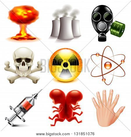 Danger and radioactive icons detailed photo realistic vector set