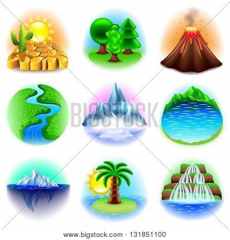 Nature icons detailed photo realistic vector set
