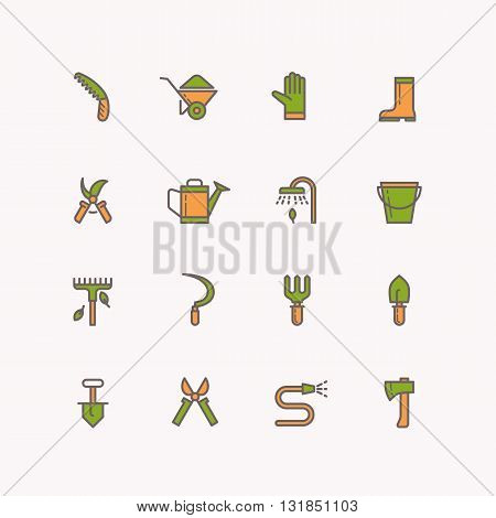 Vector linear icons of garden tools in the background. Set of isolated icons of garden and work tools. 16 objects of gardening.