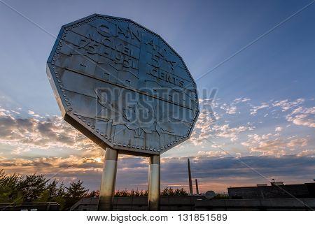 Big Nickel Landmark Ontario Canada during sunset